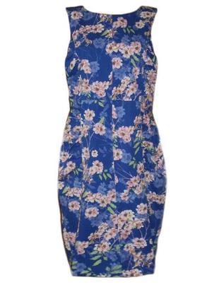 Летнее платье сарафан футляр цветочный принт повседневное миди...