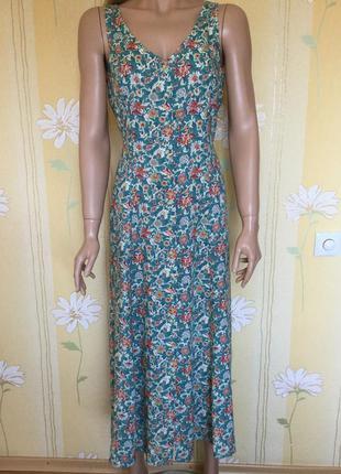 Платье- халат миди винтаж marks&spenser 100 % вискоза размер 12
