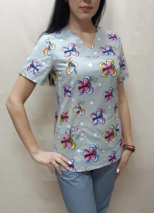 Женский медицинский костюм принт Бабочки