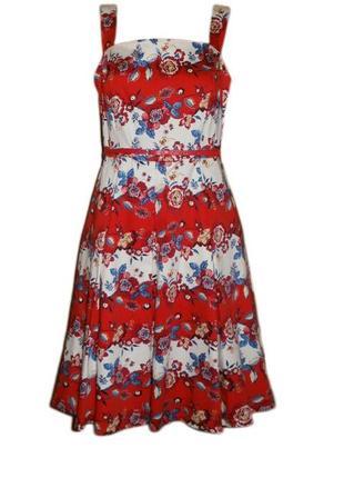 Расклешенное платье сарафан цветочный принт миди размер 16 наш 50