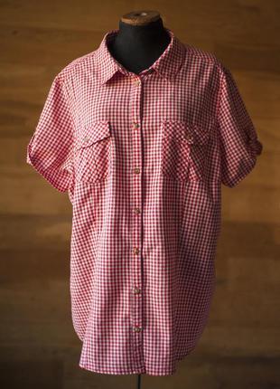 Летняя женская рубашка в клетку с коротким рукавом yessica, ра...