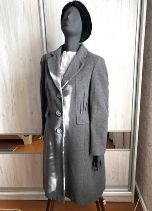 Шерстяное базовое пальто миди marks & spencer