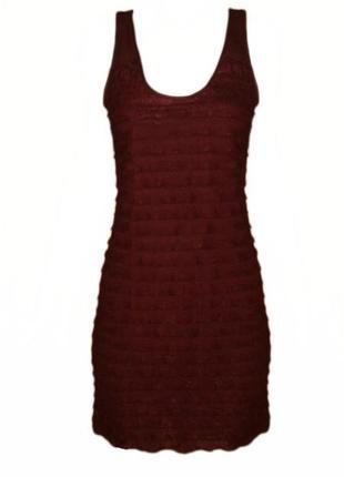 Платье в рюшах сетка сеточка нарядное марсала размер 12 наш 46