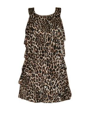 Леопардовое платье туника рюши воланы хищный анималистичный пр...