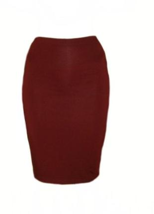 Юбка карандаш миди ниже колена, юбка резинка вискоза марсала р...