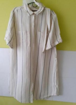Льняное платье рубашка marks &spencer