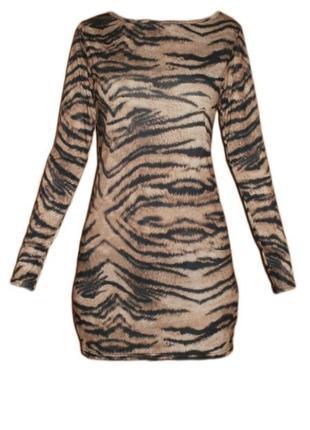 Платье с длинным рукавом хищный анималистичный тигровый принт ...