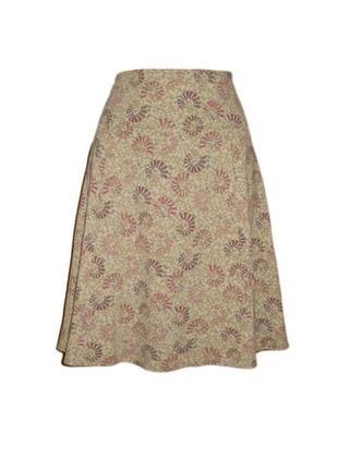 Расклешенная юбка миди ниже колена цветочный принт размер m