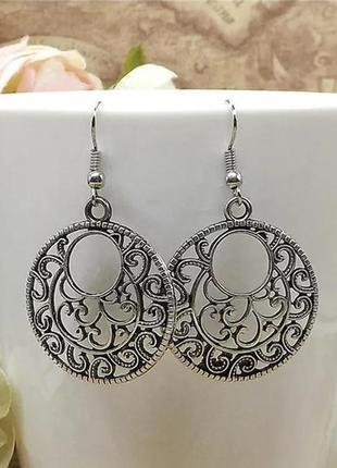 Серьги круглые, резные, тибетское серебро