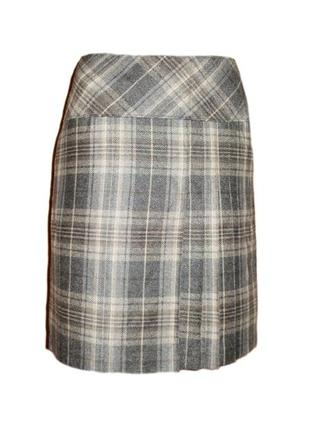 Полушерстяная юбка в клетку складки,ниже колена размер 10 наш 44
