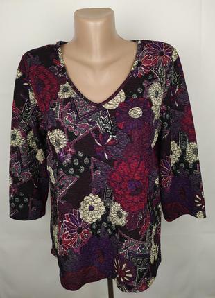 Блуза кофточка красивая трикотажная в принт v-образный вырез m...
