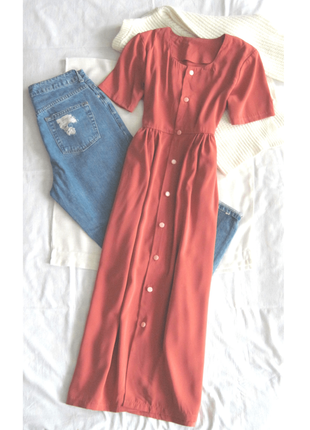 Винтажное платье рубашка миди на пуговицах