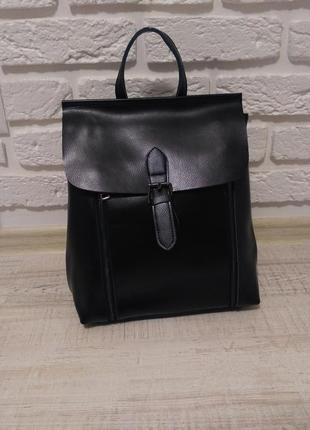"""Женский кожаный рюкзак """"rebel"""" черный"""