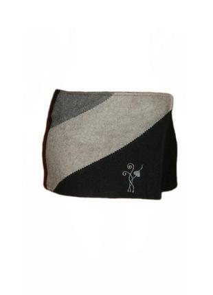 Шерстяная юбка в стили пэчворк, юбка с вышивкой на запах размер l