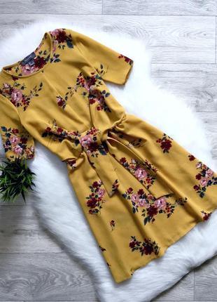 Платье горчичное в цветы primark размер 10/12