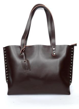 """Женская кожаная сумка """"iron lady"""" темно-коричневая"""