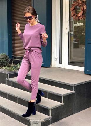 Спортивный теплый трикотажный повседневный костюм лиловый