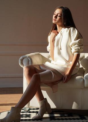 Платье худи свитшот длинный оверсайз теплый  флисовый с капюшо...