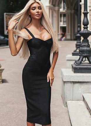 Шикарное бандажное платье миди облегающее herve leger черное п...