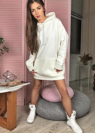 Стильное теплое платье худи свитшот флисовое с капюшоном белое