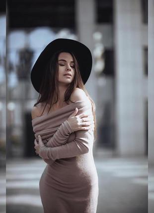 Сексуальное ангоровое платье миди ангора беж песочный хомут от...