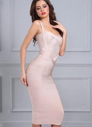 Шикарное сексуальное облегающее бандажное платье миди по фигур...