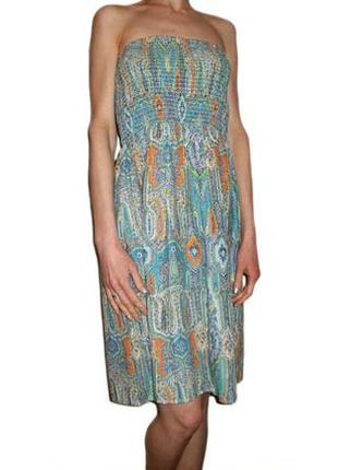 Сарафан этно принт, летнее платье хлопок на резинке с открытым...