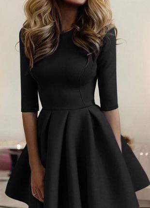 Шикарное мини платье нарядное элегантное черное приталенное не...