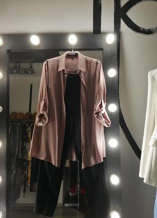 Шикарная базовая шелковая рубашка блуза шелк розовая лиловая