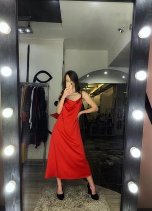Шикарное сексуальное платье комбинация шелковое красное алое м...