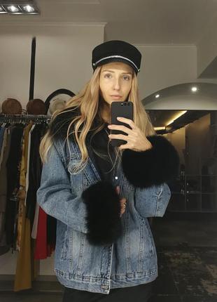 Шикарная брендовая куртка парка джинсовка с мехом песец оверск...
