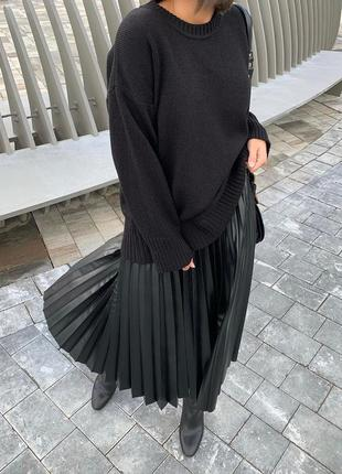 Стильная трендовая кожаная юбка плиссе гофре кожа черная миди ...