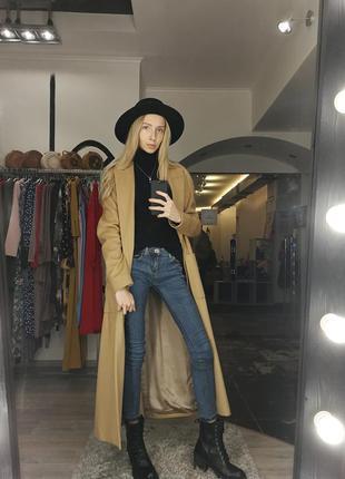 Стильное базовое классическое пальто длинное беж песочное кеме...