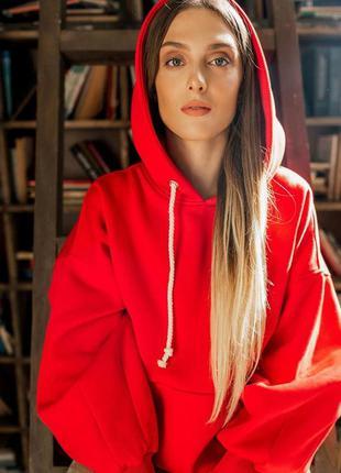 Стилтное теплое флисовое худи свитшот красное с капюшоном овер...