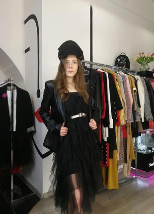 Стильный черный сарафан платье из фатина юбка пышное вечернее ...