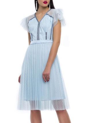 Милое фатиновое платье в мелкий горошек голубое юбка гофре