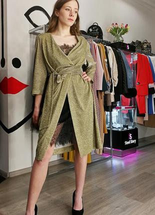 Блестящее вечернее платье на запах чёрное золотое комбинация с...