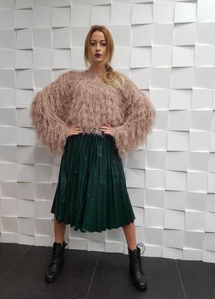 Модная трендовая кожаная юбка плиссе гофре кожа миди кожаная и...
