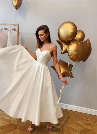 Шикарное вечернее свадебное платье миди белое айвори открытая ...