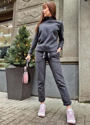 Шикарный теплый прогулочный костюм шерстяной зимний серый граф...