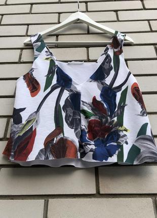 Цветочный кроп топ блузка zara