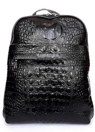 """Женский кожаный рюкзак """"strict alligator"""" черный"""