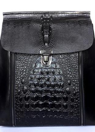 """Женский кожаный рюкзак """"black alligator"""" черный"""