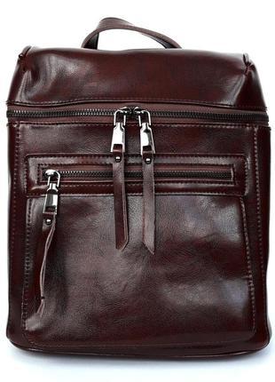 """Женский кожаный рюкзак """"concrete"""" темно-коричневый"""
