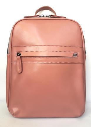 """Женский кожаный рюкзак """"brick"""" розовый"""