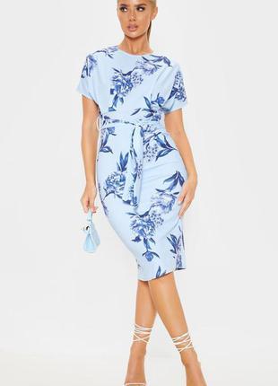Ликвидация товара 🔥 голубое миди платье с цветочным принтом и ...