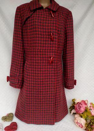 Шикарное стильное шерстяное пальто гусиная лапка размер 16(46-48)