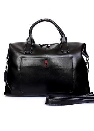 """Женская кожаная сумка-саквояж """"soft """" черная"""