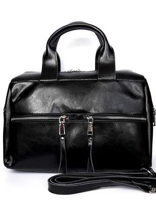 """Женская кожаная сумка-саквояж """"aurora"""" черная"""