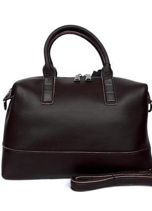 """Женская кожаная сумка-саквояж """"casablanca"""" коричневая"""